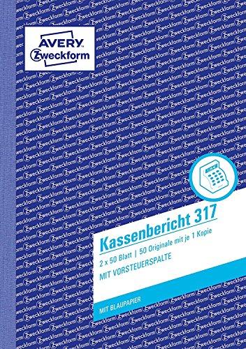 AVERY Zweckform 317 Kassenbericht (A5, mit 1 Blatt Blaupapier, 2x50 Blatt) weiß/gelb (4 Stück, Kassenbericht A5)