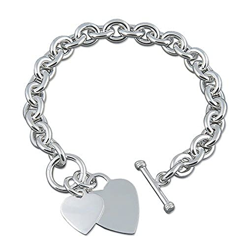 811a711e1fc6 Double Heart Charm Sterling Silver Bracelet - Heavy (50 Grams) Chunky Silver  Bracelet With