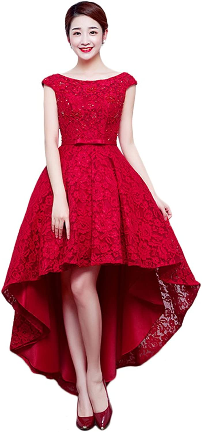 JoyVany Simple High Low Wedding Dresses 2016 Red Lace Wedding Dress with Beading