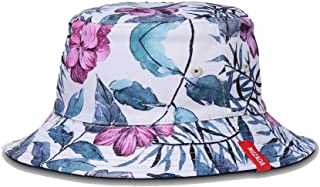 Unisex Bucket Hat Reversible Fisherman Hat Plant Printed Solid Color Outdoor Sun Hat Packable