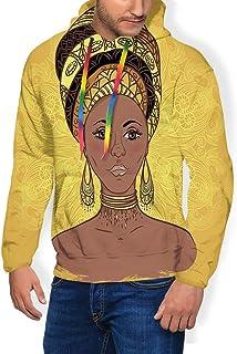 GULTMEE Men's Hoodies Sweatershirt,Tribal Woman Portrait in Turban Ornate Mandala Inspired Round Motif Print,5 Size