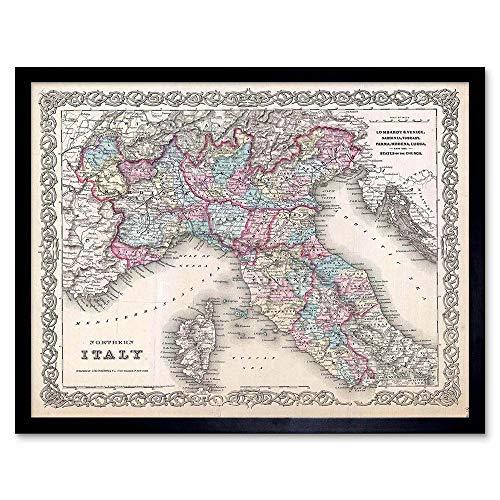 Wee Blue Coo mooie 1855 eerste editie Colton's kaart Noord-Italië Art Print ingelijst Poster muur Decor 12X16 Inch