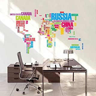 DIY Colored Letters Combination World map Wall Stickers Kids Room Home Decor Office Art Decals Creative Vinyl 3D Wallpaper...