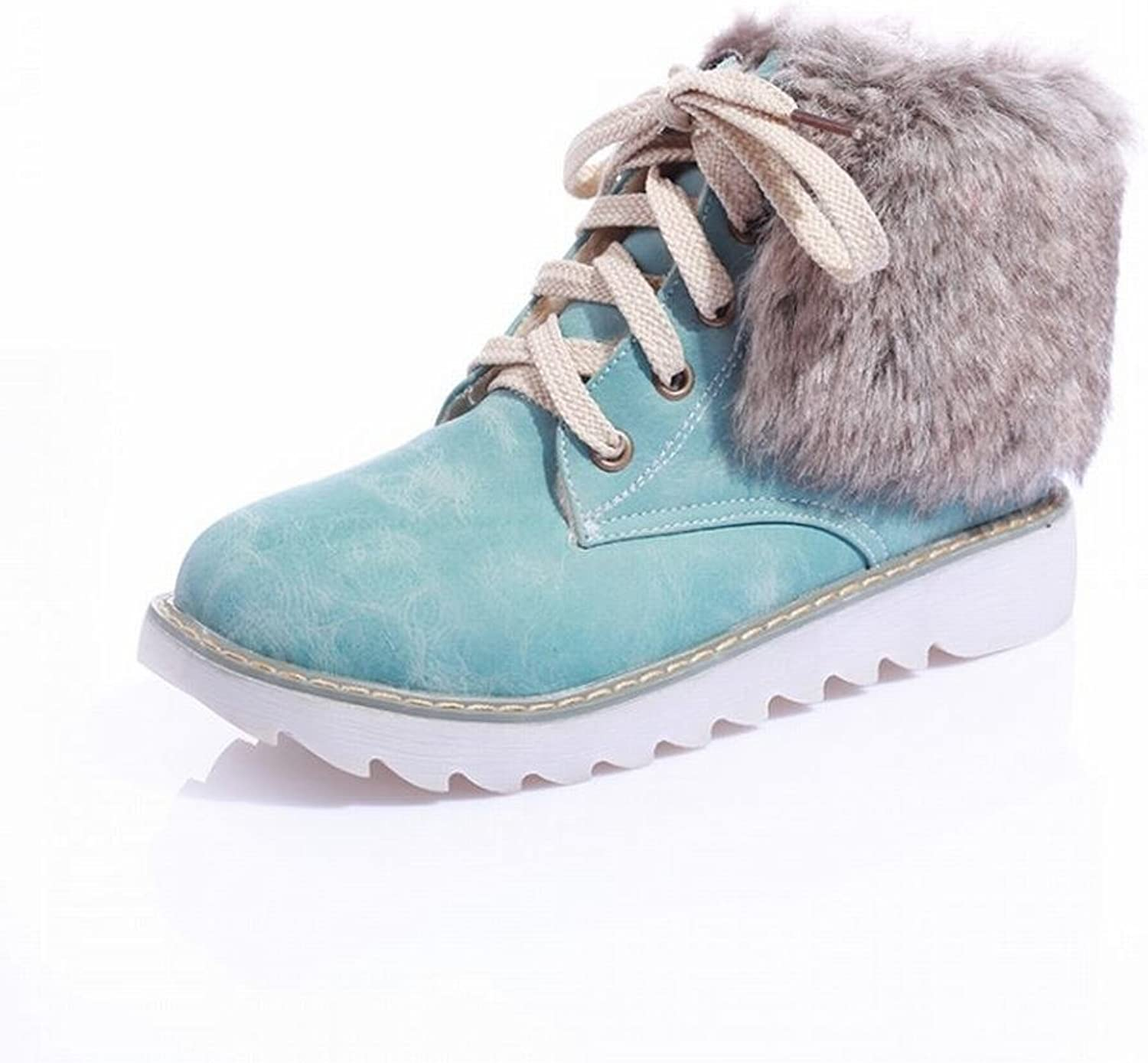 Lucksender Womens Fashion Lace-ups Casual Flat Faux Fur Snow Boots