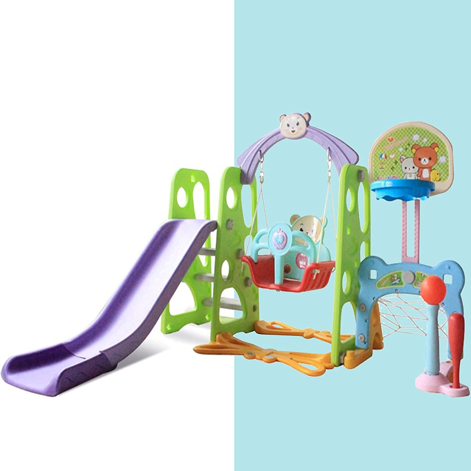 6 in 1 Toddler Slide and Swing Set Gift - Baby Playset Climber F