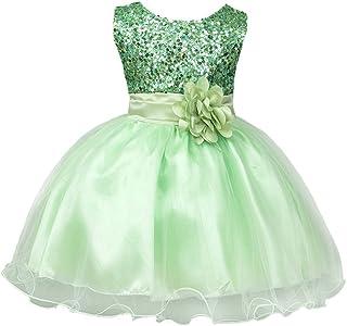699e450b20f8f IWEMEK Petite Fille Fleur Robe de Princesse Paillettes Demoiselle d honneur  Enfants Robe de Anniversaire