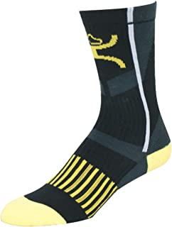 Mid-Calf Performance Socks -- Black/Yellow/Grey