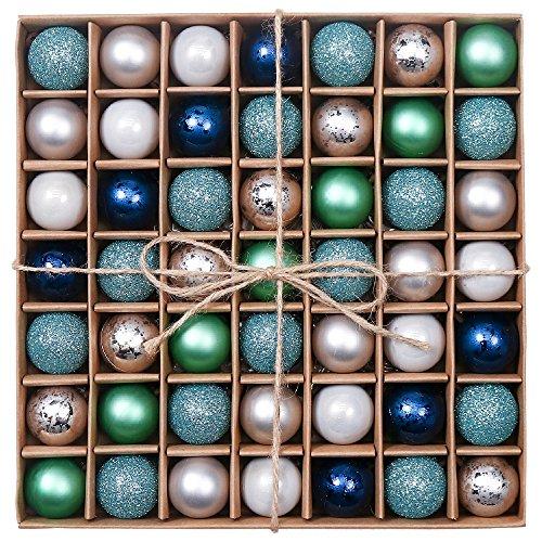 Valery Madelyn Palline di Natale 49 Pezzi 3Cm Palline di Natale in Plastica Decorazione Natalizia con Appendiabiti Brillante Brillante Matt Tree Decoration Blu Verde Argento