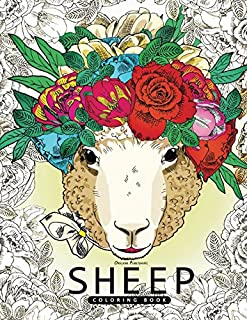 Sheep Coloring Book: for Adults Fun, Beautiful and Stress Relieving Unique Design