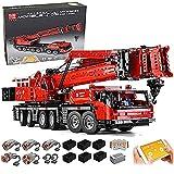 Modelo de grúa de camión técnico, 4460 piezas de servicio pesado con control remoto con 5 motores y kit de control remoto, tecnología Lego compatible A