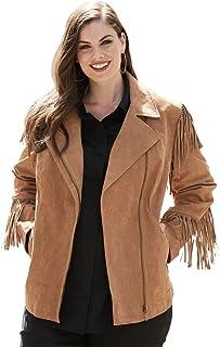 b6424438fa0 Roamans Women s Plus Size Suede Moto Jacket with Fringe