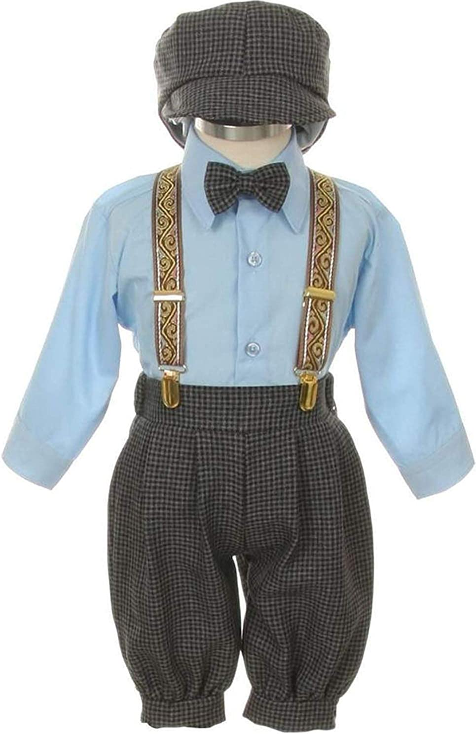 SK Vintage Dress Suit-Tuxedo Knickers Outfit Baby Boys & Toddler-Blue Houndstooth