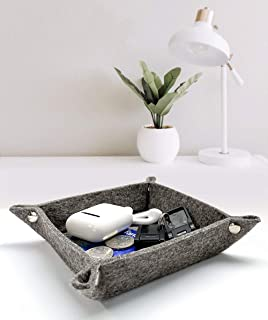 Gray Felt Cloth +PU Leather Storage Tray With Metal Snap,Home Storage Tray For Jewelry/Keys/Earphones/Coins/Watches(8.07×...