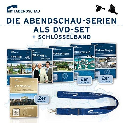 9er DVD-Set Abendschau (Mauerfall, Berliner Straßen, Berliner Plätze, Berlin von A-Z, Fahr Rad und 50 Jahre in 50 Tagen) + Schlüsselband blau