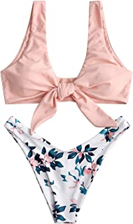 Women's Floral Plunging Bikini Set Strappy High Cut Two Piece Swimsuit