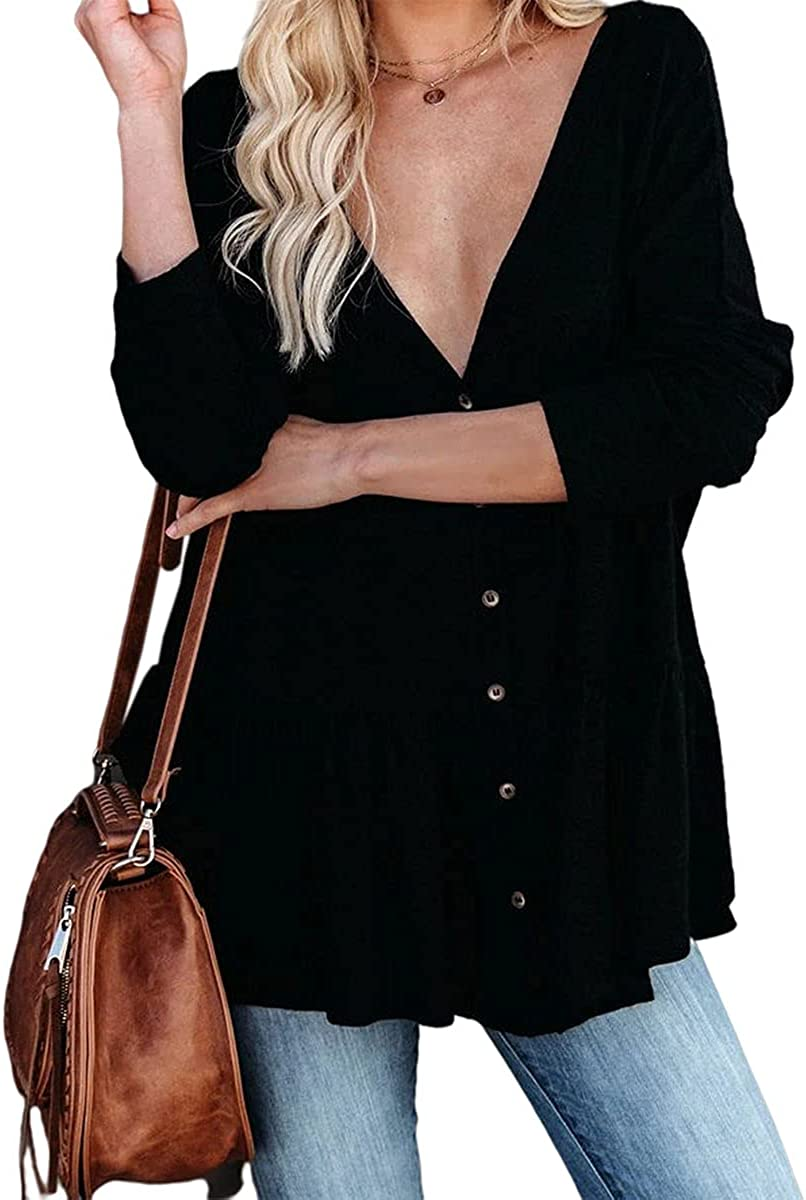 ZOCAVIA Womens Hem Pleated Cardigan Solid Open Front Knited Cardigan Button Down Sweater Outerwear