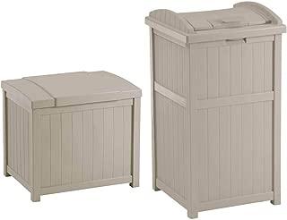 Suncast 22-Gallon Resin Deck Box, Light Taupe w/ 30-33 Gallon Trash Can Hideaway
