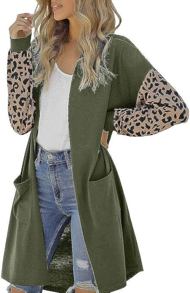 Hengshikeji Women Cardigan Leopard Print Medium Length Coat Casual Long Sleeve Fashion Plus Size with Pocket