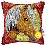 DIY Throw Pillow Cover Animal Pattern Yarn Cojín Materiales Paquete Crochet Alfombra Juego de Bordado Apto para Principiantes Kit de Bordado(Size:42cm/16.5in,Color:8)