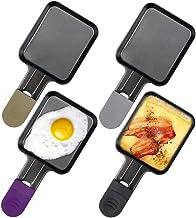 Zeewoo Coupelle Raclette Poêlon Raclette Grill Accessoires Antiadhésif Avec Poignée Isolée de Couleur, 4 Pcs, 18x8x1.5cm, ...