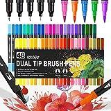 Dual Brush Pen Set 48 Farben,Pinselstifte Pastell,Aquarellfarben Pinselstifte,Watercolor Brush Pen Set,Dual Brush Pen Pastell,Filzstifte für Bullet Journal Zubehör
