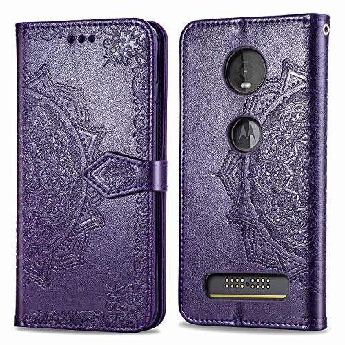 for Motorola Moto Z4 Play Case, Moto Z4 Case Premium PU Leather Case Shock-Absorption Flexible Cell Phone Soft Full-Body Protective Cover Case for Motorola Moto Z4 (Purple, Moto Z4 Play/Z4)