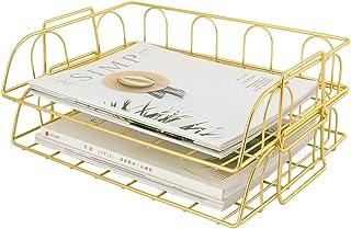 Superbpag 2 Packs Stackable Horizontal Metal File Letter Trays Organizer for Desk,Gold