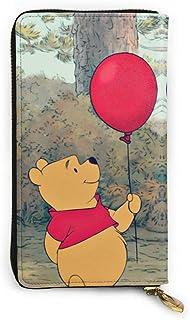 Hdadwy Winnie the Pooh Cartera con bloqueo Carteras de cuero genuino Cartera con doble cremallera Organizador Bolsa de emb...
