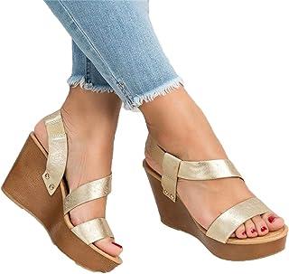 SHOULIEER Femmes Sandales compensées Plate-Forme Sandales été sans Lacet sur Les Chaussures à Talons Hauts pour Dames Gold 37