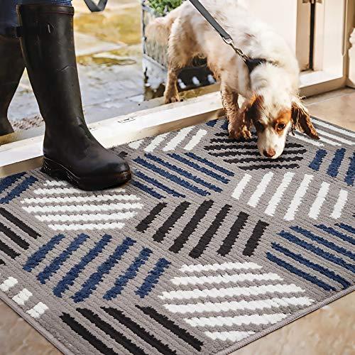 Color&Geometry Felpudo de Entrada, Interior Alfombra Antideslizante, Tapete para Puerta Lavable a Máquina, Absorbente para Pasillo, Cocina, Jardín, 90 x 150 cm, Azul