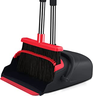 Broom and Dustpan set Large Size Dust pan and Stiff with 55.9 inch Long Handle, Stainless Steel Extra Long Handle Broom Is...