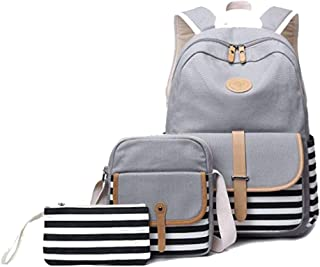 Grey Casual Style Lightweight Canvas Backpack School Bag Travel Daypack for Girls and Women