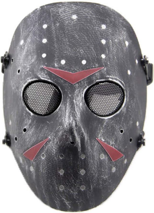 WISEONUS CS Games Airsoft Paintball Máscara Protectora de Malla metálica Jason Mascarilla de protección de Cara Completa para Fiesta de Disfraces de Halloween