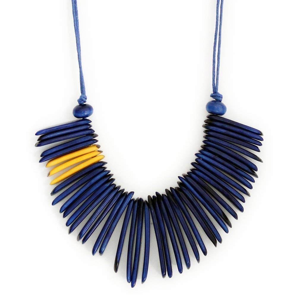 Tagua Necklace Fringe New products world's highest quality popular in Blue Fa Sales results No. 1 yellow and Handmade Adjustable