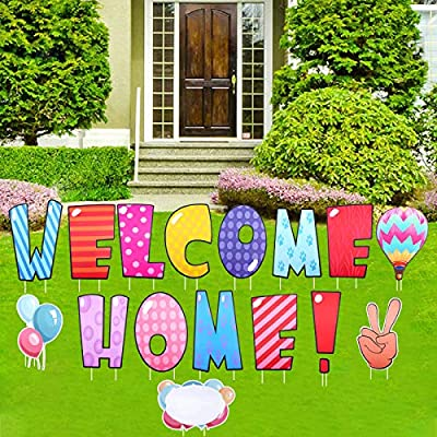 changsha 16 Pcs Welcome Home Yard Sign with Stakes, Back Home Welcome Sign, Colorful Lawn Letters Yard Card Outdoor Lawn Decorations