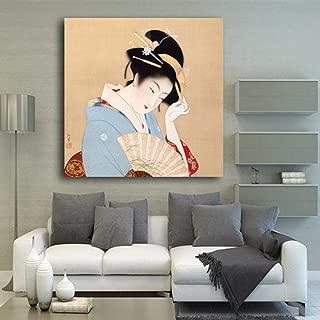 woplmh Art Moderne Style Moderne Photos Classiques Japonaises Costume Des Femmes Japonaises En Affiche De L'Antiquité Affiche Toile-60x60cmx1 / sans Cadre