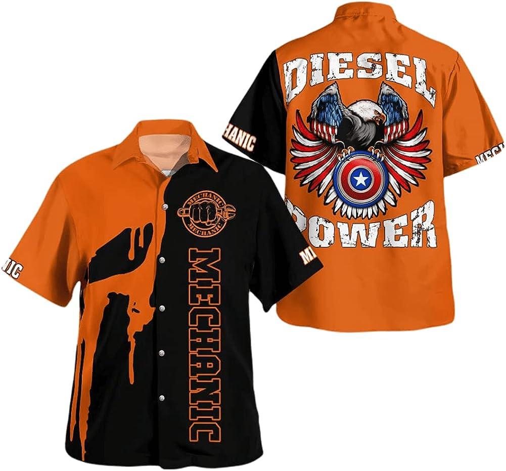 Mechanic Logo Skull Orange Black Style Diesel US 1 Power New Orleans Mall Eagle Our shop most popular