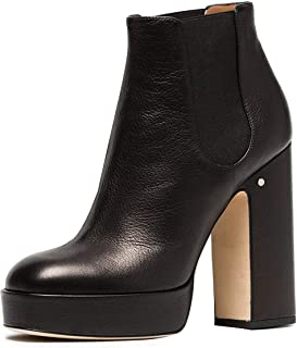 YDN Women Round Toe Platform High Heel Chunky Booties Pumps Pull on Elastic  Shoes 622ce9527e56