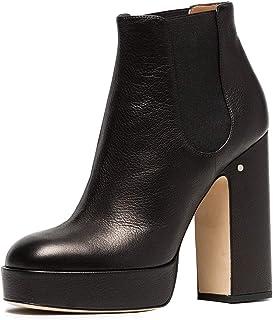 YDN Women Round Toe Platform High Heel Chunky Booties Pumps Pull on Elastic Shoes