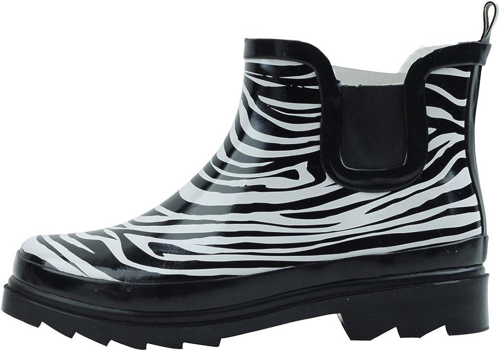 Cambridge Select Women's Waterproof Print Pattern Welly Ankle Boot