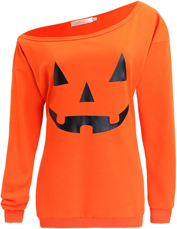 LYXIOF Women Halloween Pumpkin Sweatshirts Off Shoulder Sweatshirt Slouchy Shirts