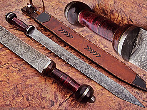 SW-01 Handmade Damascus Steel 25 Inches Sword - Beautiful Doller Sheet & Rose Wood Handle with...