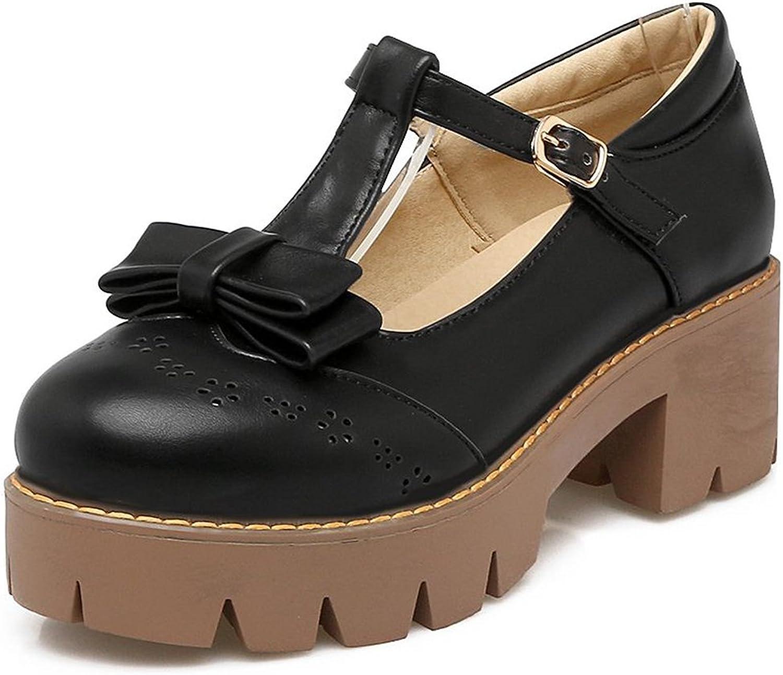 Kaloosh Women's Sweet Bowtie T-Strap Mary Janes Block Mid Heels Platform Brogue Party Pumps