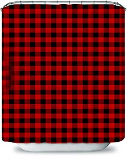 Plaid Shower Curtain, Lumberjack Fashion Buffalo Style Checks Pattern Retro Style with Grid Composition, Cloth Fabric Bathroom Decor Set with Hooks, 72