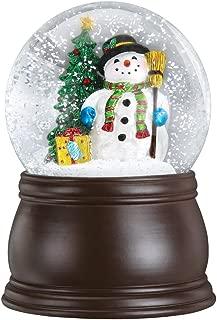 Old World Christmas Gleeful Snowman Snow Globe with Blower Wood Finish Standard