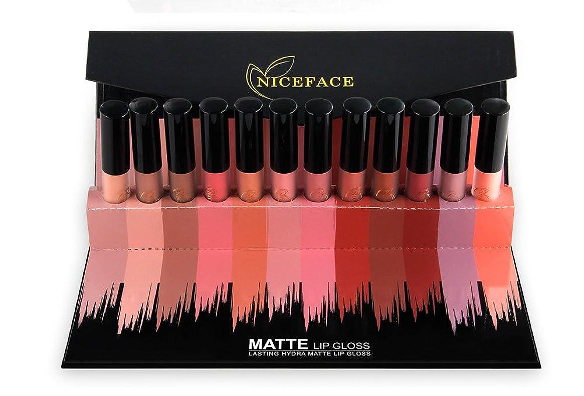 論理的スリップオーバーヘッドNICEFACE 12Pcs/Set Matte Long-Lasting Lipstick 12 Colors Lip Gloss Waterproof Lip stick 5gx12 Beauty Lips Makeup Lipstick