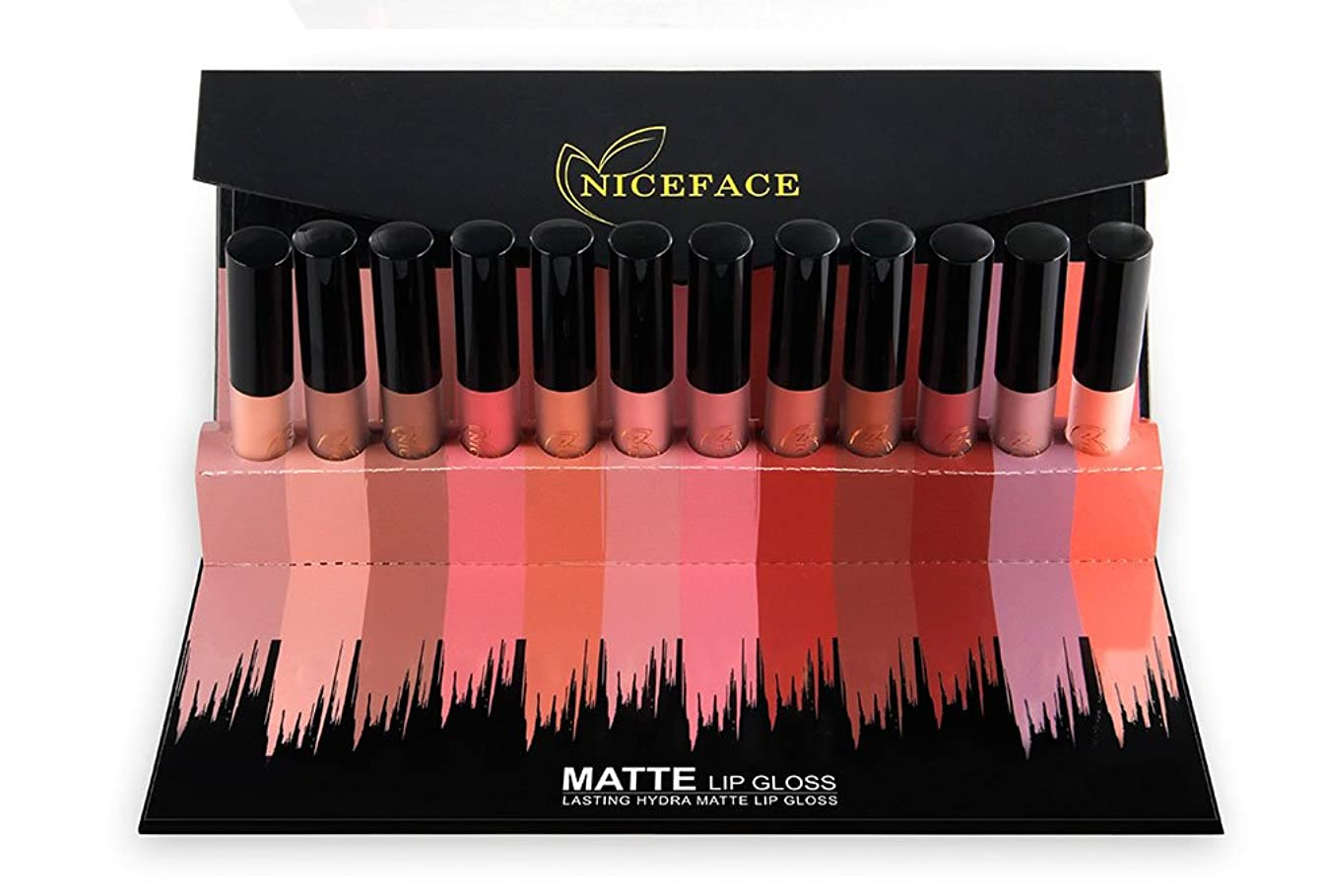 花に水をやる偶然のモードリンNICEFACE 12Pcs/Set Matte Long-Lasting Lipstick 12 Colors Lip Gloss Waterproof Lip stick 5gx12 Beauty Lips Makeup Lipstick