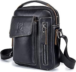 Mens Shoulder Bag - Genuine Leather Messenger Bags, Waterproof Simple Crossbody Bag Casual Vintage Satchel Handbag
