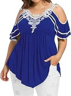 Womens Classic Lace Patchwork Cut Out Shoulder V Neck Shirt Top Blouse Blue US 3X-Large