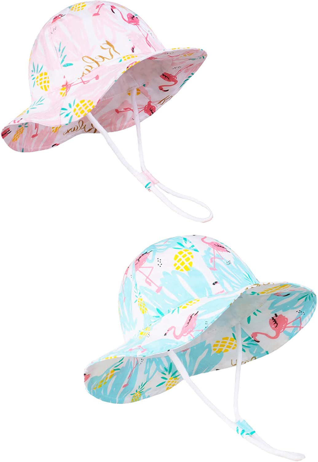 Juenier Toddler Summer Beach Play Hat Adjustable Wide Brim Bucket Hat with Chin Strap for Kids Girls Baby(Pink Flamingos+Blue Flamingos, L: 2T-4T (52cm /20.5